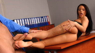 Amabella doing footjob on boss